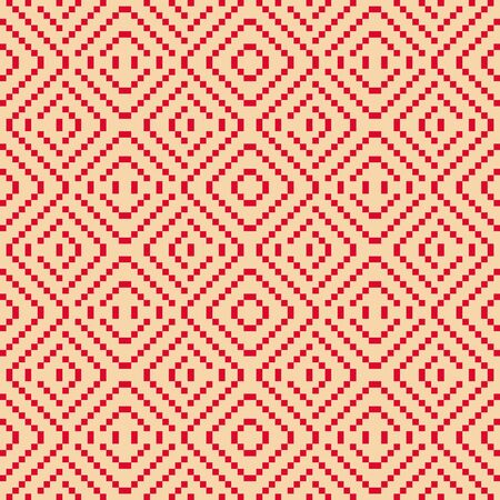 Vector geometric folk ornament.  Traditional Nordic ethnic seamless pattern. Ornamental background with small squares, crosses, lines. Texture of embroidery, knitting. Red and beige repeating design