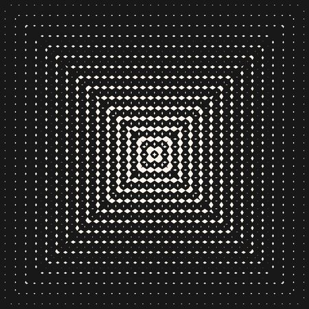 Black and white geometric seamless pattern with radial halftone transition effect in square form. Vector monochrome background with small rhombuses, lines, grid. Trendy design for decor, covers, wrap Illusztráció