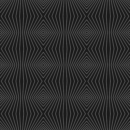 Geometric lines pattern. Vector seamless texture with thin refracted stripes. Abstract monochrome striped background, repeat tiles. Optical illusion effect. Dark design for decoration, digital, web