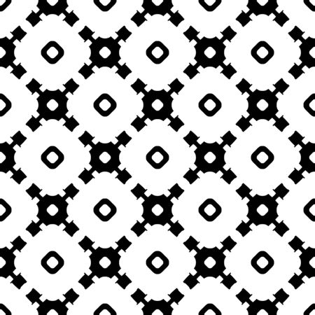 Vector monochrome seamless texture, abstract geometric black & white pattern with simple rounded shapes. Endless background, repeat tiles, diagonal lattice. Design element for textile, print, decor