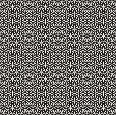 Vector seamless pattern, repeat monochrome geometric texture, oriental style, black & white ornament. Abstract mosaic background. Design element for prints, decoration, textile, wrapping, digital, web Illusztráció