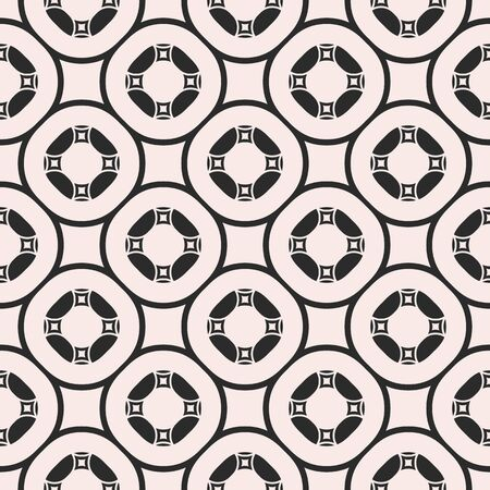 Vector ornamental seamless pattern for tiling. Geometric circular figures, symmetric grid, abstract monochrome square background. Delicate design for print, home decor, cover, fabric, textile, bedding