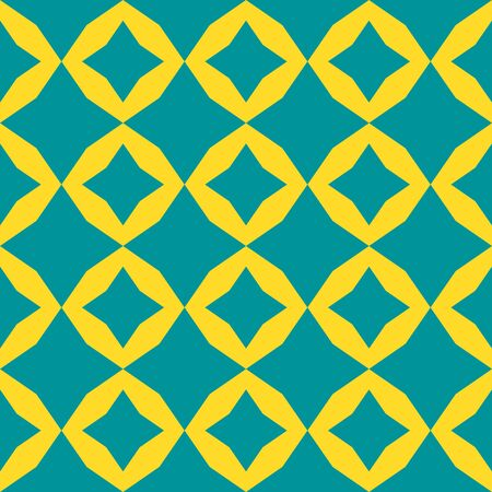 Vector colorful geometric seamless pattern. Simple abstract checkered texture with diamond shapes, rhombuses, stars. Bright colors, turquoise green and yellow. Minimal funky background. Repeat design Archivio Fotografico - 132930702