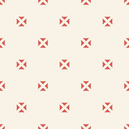 Subtle minimalist vector seamless pattern with small floral shapes, triangles, squares. Simple geometric texture in red and beige color. Abstract minimal background. Stylish modern repeating design