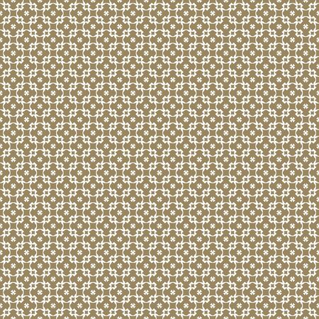 Vector golden seamless pattern. Elegant white and gold ornament. Repeat geometric texture, mosaic background, retro style. Abstract ornamental design for prints, decoration, furniture, fabric, cloth Illusztráció