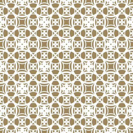 Subtle ornament in Asian style. Vector seamless pattern. Delicate geometric texture with rounded mesh, carved lattice, grid, floral shapes, repeat tiles. Elegant white and gold abstract background  Illusztráció