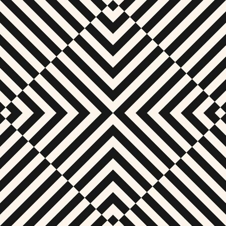 Vector geometric line pattern. Abstract black and white texture with diagonal stripes, lines, square tiles. Optical art. Simple minimal monochrome background. Creative psychedelic repeatable design Illusztráció