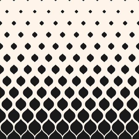 Vector halftone pattern, monochrome geometric texture, visual transition effect, vertical falling rounded shapes. Modern abstract background. Design element for prints, decor, digital, covers, textile Illusztráció