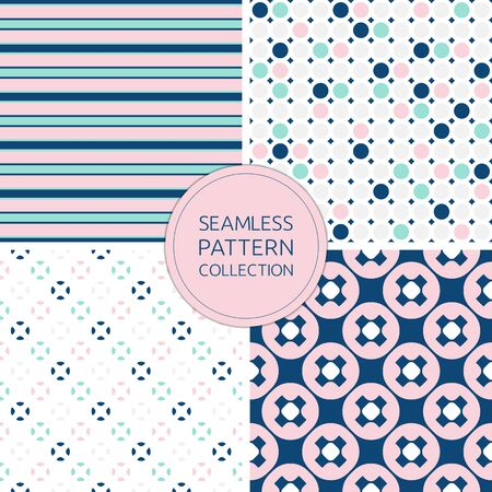 Fashionable seamless patterns in trendy colors: pink, navy, light grey, mint. Geometric repeat textures, stylish design for decoration, textile, covers, card, fabric, paper, furniture, digital, web Illusztráció