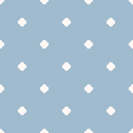 Vector geometric polka dot seamless pattern. Simple light blue texture with small dots, crosses, flower silhouettes. Abstract minimalist repeat background. Design for print, decor, wallpapers, fabric