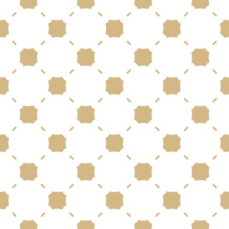 Golden abstract geometric seamless pattern. Elegant minimalist vector background. Simple graphic ornament with octagonal shapes, squares, lines, grid. White and gold luxury texture. Repeatable design