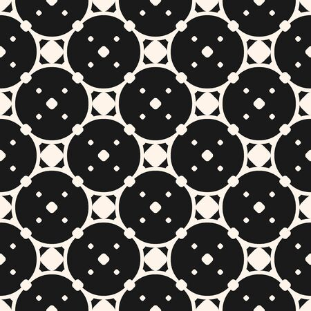 Vector seamless pattern, abstract geometric monochrome texture with circular lattice, rounded grid, small dots. Stylish dark background. Design element for prints, cover, textile, fabric, cloth, decor