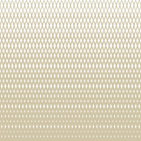 Golden vector halftone grid seamless pattern. White and gold texture with lattice, net, mesh, diamonds, rhombuses. Vertical gradient transition effect. Abstract geometric background. Luxury design