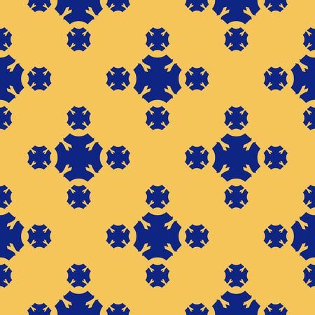 Vector geometric seamless texture. Luxury ornamental pattern with flower silhouettes, crosses. Minimalist abstract background in yellow and blue colors. Elegant repeat design for decor, textile, cloth