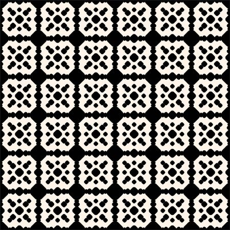 Ornamental tiling seamless pattern. Vector abstract geometric texture with circles, rounded shapes, square grid. Monochrome ornament background, repeat tiles. Symmetric design for prints, decor, wrap