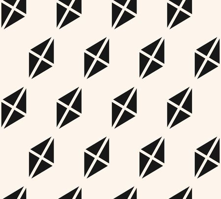Vector geometric minimalist seamless pattern with triangles, rhombuses. Simple black and white geometric texture. Abstract monochrome background. Repeated design for decor, fabric, furniture, prints