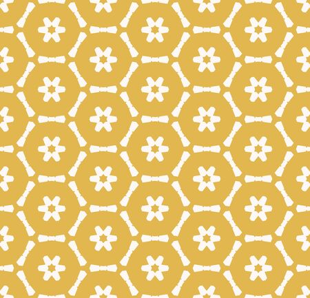 Vector geometric seamless pattern with small flower silhouettes, snowflakes, stars, hexagonal lattice, grid, mesh, net. Stylish yellow and white colored texture. Abstract repeat background design