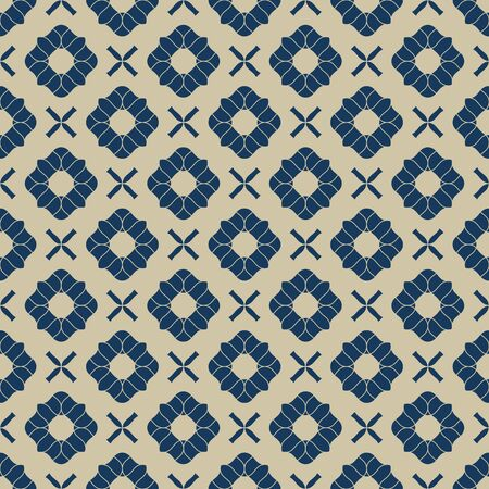 Vector golden floral seamless pattern. Navy blue and gold luxury ornament. Geometric background with small flower shapes, crosses, repeat tiles. Elegant abstract texture. Design for decor, wallpapers