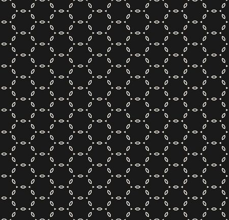 Vector monochrome seamless pattern, repeat geometric tiles, dark minimalist background with white linear figures, lattice. Simple ornamental endless texture for prints, decoration, digital, web, cover Archivio Fotografico - 136165436