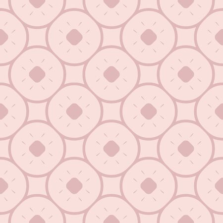 Subtle minimal floral pattern in pink colors. Delicate abstract geometric texture with circles, rounded grid, lattice, small elements. Vector ornament texture design. Simple repeatable background