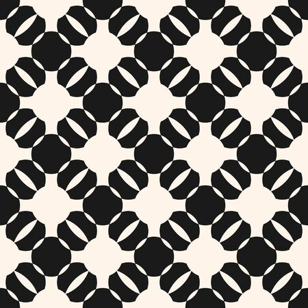 Vector geometric monochrome seamless pattern. Black and white ornamental texture with round shapes, grid, lattice. Abstract ornament background, repeat tiles. Design for decoration, fabric, furniture