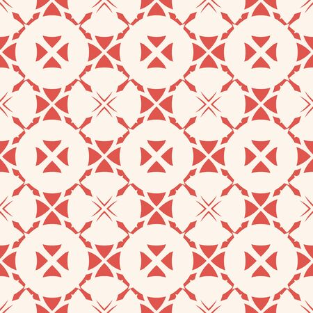 Vector abstract ornamental seamless pattern. Elegant vintage geometric texture with crosses, flower shapes, round grid, lathing, repeat tiles. Red and white background. Design for decor, wallpapers