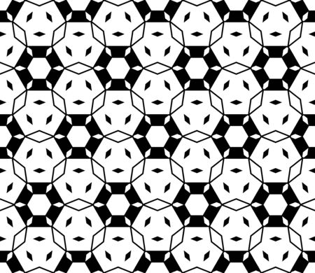 Vector monochrome seamless pattern. Modern subtle texture with linear figures, hexagons, rhombuses. Stylish abstract delicate geometric background. Repeat tiles, endless symmetric structure