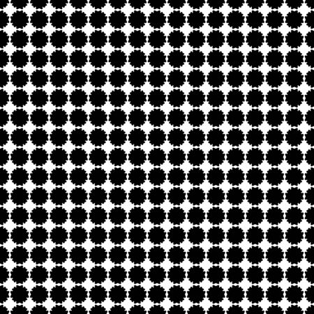 Simple vector monochrome texture, black & white geometric seamless pattern with flat flower silhouettes. Square symmetric illustration. Abstract design element for print, decor, textile, fabric, cloth