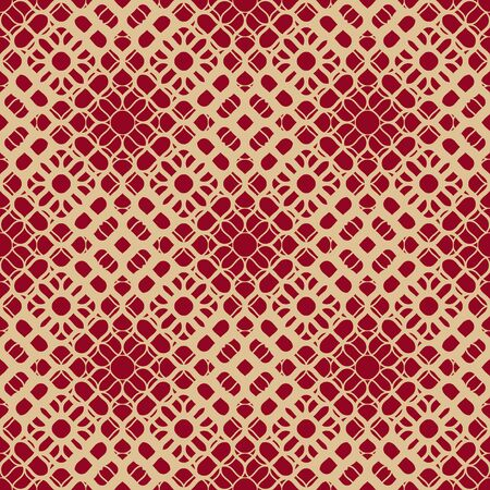 Golden vector ornamental halftone texture. Abstract geometric seamless pattern with gradient transition effect, grid, mesh, weave, floral silhouettes. Gold and dark red background. Luxury design  Illusztráció