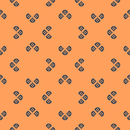 Vector minimalist geometric seamless pattern. Simple background with small floral shapes, petals, leaves. Abstract ornamental texture in deep blue and orange color. Repeat design for decor, textile