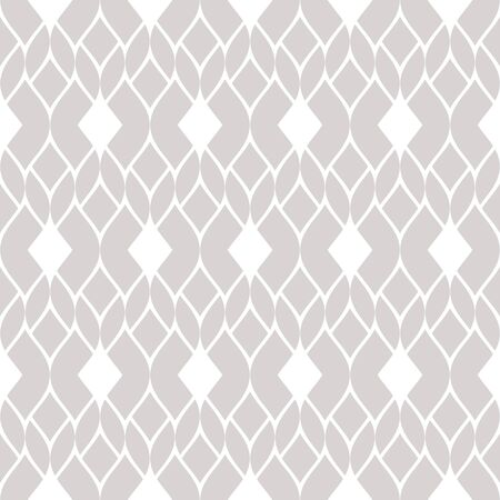 Vector geometric mesh seamless pattern. Subtle abstract ornament in gray and white colors. Texture with delicate grid, lace, net, tissue, knitting. Elegant ornamental background. Repeat design element Archivio Fotografico - 136165447