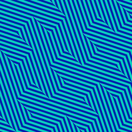 Vector geometric lines seamless pattern. Bright colorful texture with diagonal stripes, broken lines, chevron, zigzag. Simple abstract geometry. Optical art. Neon blue and purple repeat background