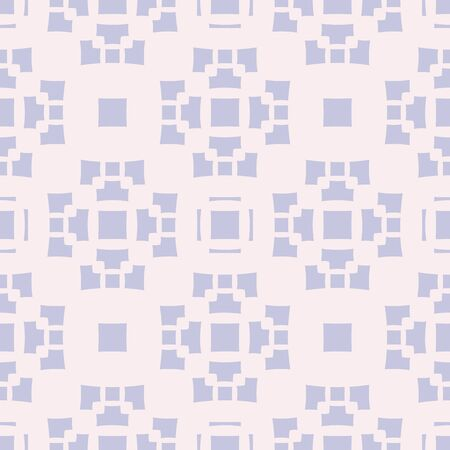 Vector geometric seamless pattern with abstract floral shapes, crosses, squares, repeat tiles. Ornament texture in Asian style. Soft pastel colors, light pink and lilac. Simple background design Archivio Fotografico - 136165473