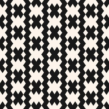 Vector geometric seamless pattern in traditional style. Tribal ethnic motif. Black and white ornament with squares, rhombuses, grid, mesh, lattice. Abstract monochrome texture. Repeating background