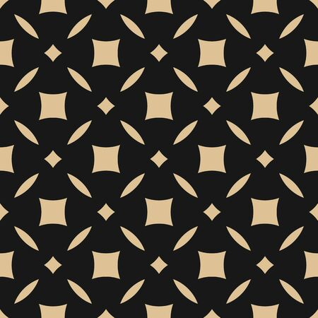 Golden abstract floral seamless pattern. Vector gold and black background. Simple geometric leaf ornament. Luxury graphic texture with diamond shapes, squares, grid. Elegant repeat decorative design Archivio Fotografico - 136165475