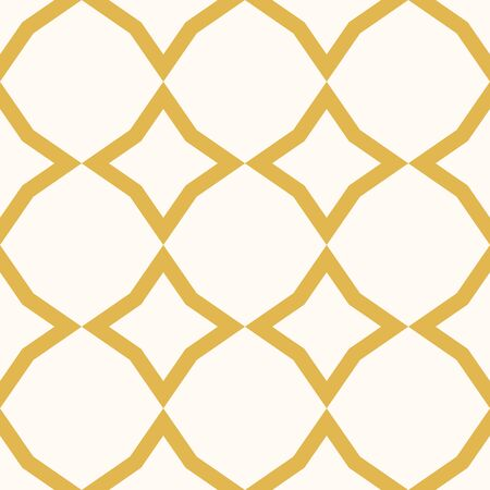Diamond pattern. Vector abstract grid seamless texture. Yellow and white geometric ornament with rhombuses, stars, lattice, net, repeat tiles. Elegant golden graphic background. Decorative design