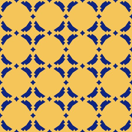Vector abstract ornamental floral seamless pattern. Vintage geometric background with small diamond figures, curved shapes, grid, lattice. Elegant texture in yellow and navy blue colors. Repeat design