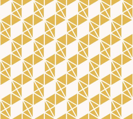 Abstract triangles vector pattern. Yellow and white geometric seamless texture with small triangles, rhombuses, zigzag stripes, hexagon grid. Stylish minimal graphic background.  Modern repeat design