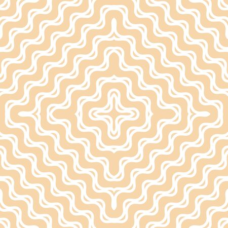 Yellow wavy seamless pattern. Abstract vector texture with concentric shapes, diagonal waves, curved lines, crosses, stripes. Subtle minimalist background. Stylish repeat design for decor, prints Archivio Fotografico - 136165480