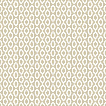 Vector golden linear seamless pattern with chains, wavy shapes, ovals, thin curved lines, ropes. White and beige luxury abstract background. Elegant ornamental texture. Subtle design for decor, fabric Archivio Fotografico - 136165483