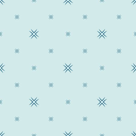 Vector minimalist floral seamless pattern. Simple abstract geometric background with small flowers, сrosses, stars. Subtle minimal ornament in mint green and blue color. Elegant texture. Repeat design Illusztráció