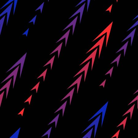 Abstract geometric seamless pattern with diagonal gradient lines, arrows, triangles, tracks, halftone stripes. Extreme sport style texture, urban art background. Neon red and blue gradient on black Иллюстрация