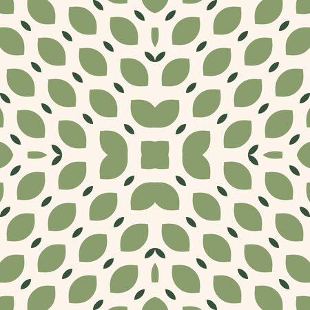 Vector seamless pattern. Simple green geometric texture. Elegant minimal background with curved grid, tissue, net, small leaves, petals. Abstract minimalist ornament. Natural organic theme design