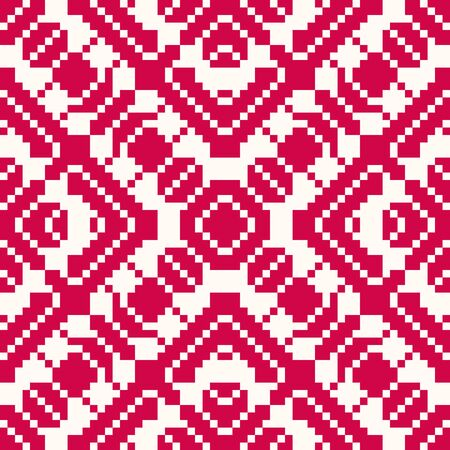 Vector geometric traditional folk ornament. Red and white seamless pattern. Ornamental background with small squares, crosses, snowflakes, flower shapes. Repeatable texture of embroidery, knitting
