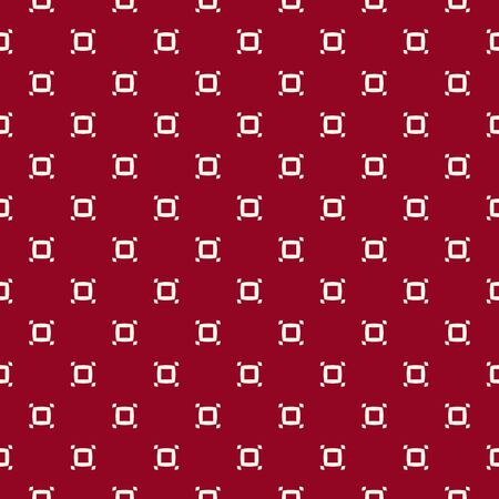 Vector minimalist seamless pattern with small perforated squares, dots. Abstract geometric texture in burgundy and white color. Simple minimal background. Elegant repeated design for decor, textile