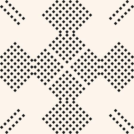 Vector minimalist geometric seamless pattern with small rhombuses, diamonds, squares, dots. Abstract black and white graphic texture. Simple minimal background with cubic elements. Repeating design