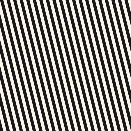Diagonal stripes seamless pattern. Simple black and white vector slanted lines texture. Modern abstract geometric striped background. Thin monochrome linear ornament. Repeat design for print, decor Vector Illustration