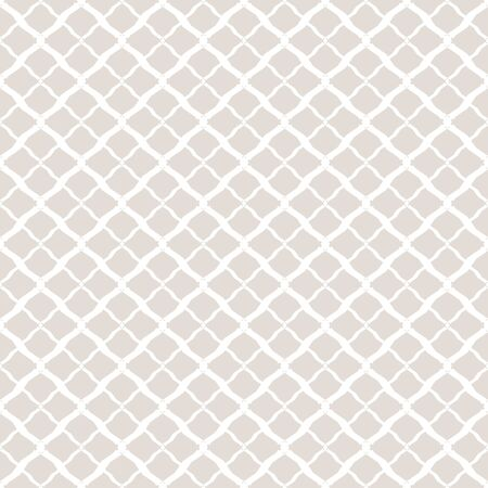 Subtle vector geometric seamless pattern. Simple white and light beige texture. Background with mesh, lattice, net, grid, small rhombuses, diamonds. Delicate abstract ornament. Elegant repeat design