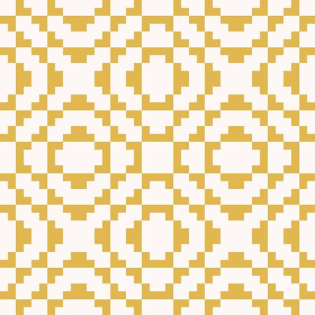 Vector geometric traditional folk ornament. Fair isle seamless pattern. Ethnic motif. Ornamental background with squares, crosses, embroidery, knitting. Yellow and beige color. Repeatable texture  일러스트