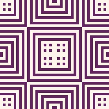 Vector geometric lines seamless pattern. Modern texture with squares, stripes, lines, chevron, tiles. Simple abstract geometry. Funky modern graphic background in purple and beige color. Repeat design